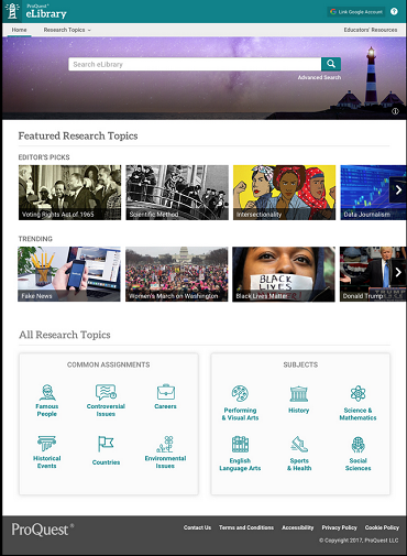 Mock-up of the new eLibrary front page