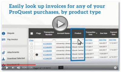 ProQuest Invoice Portal Videos